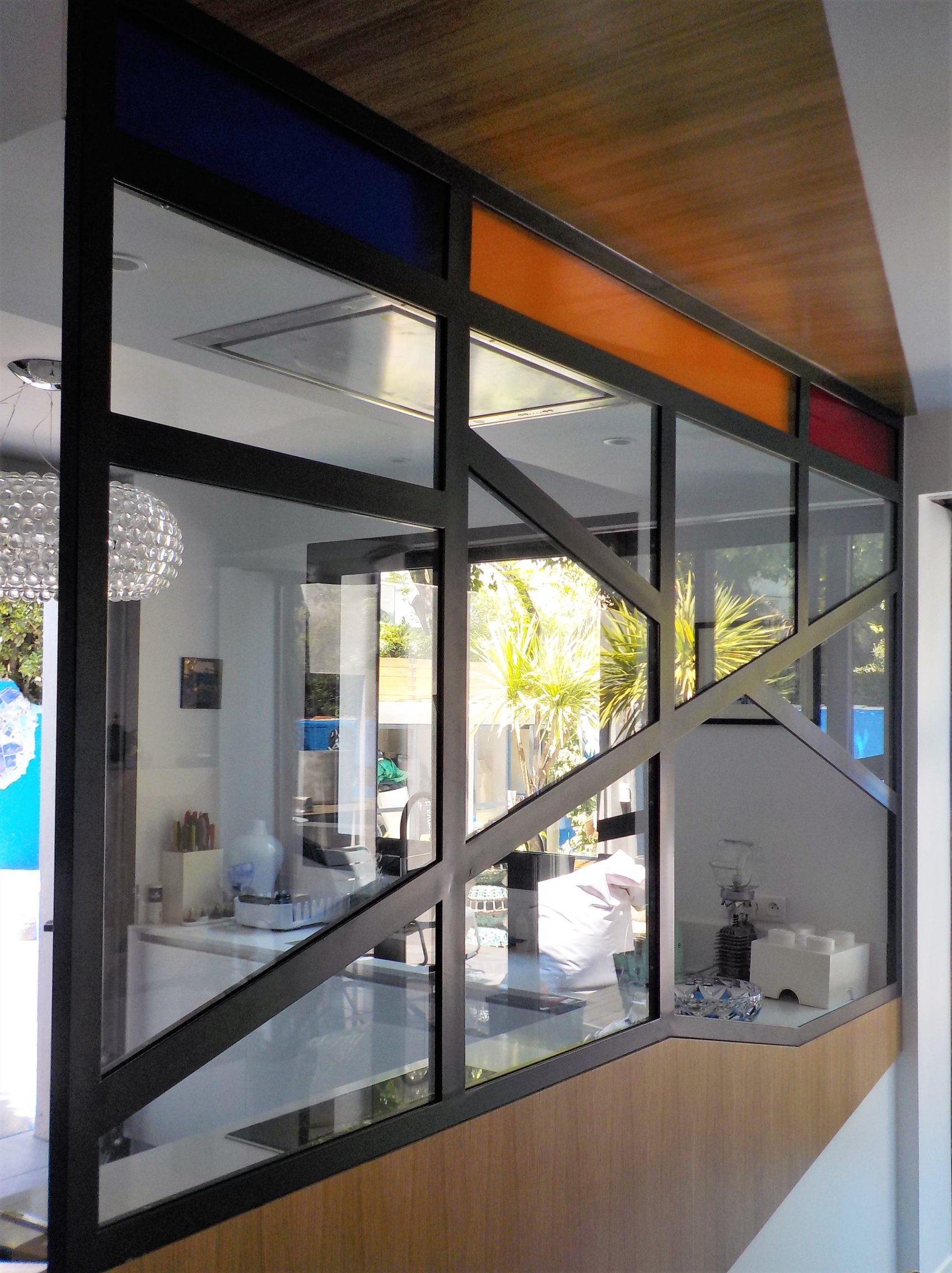 verrière cuisine avec verres colorés acier - Inoxngo